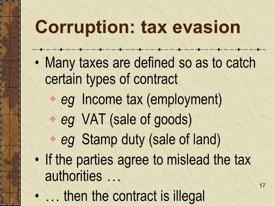 Corruption: tax evasion
