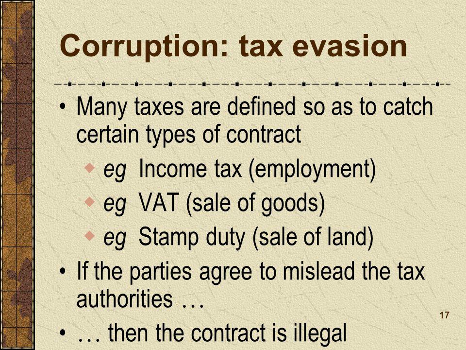 Corruption: tax evasion