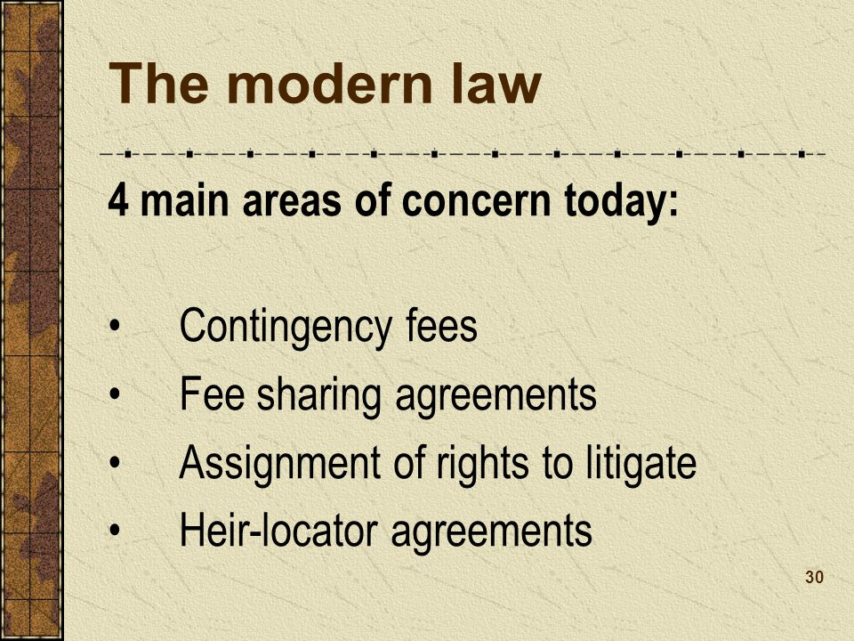 The modern law 4 main areas of concern today: Contingency fees