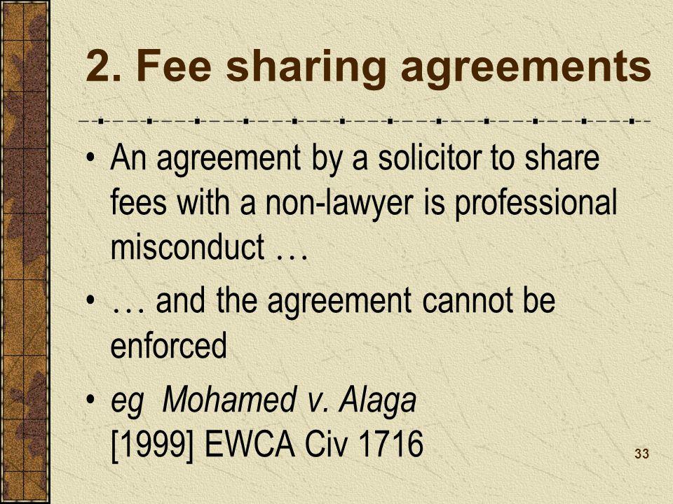2. Fee sharing agreements