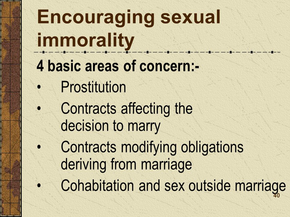 Encouraging sexual immorality