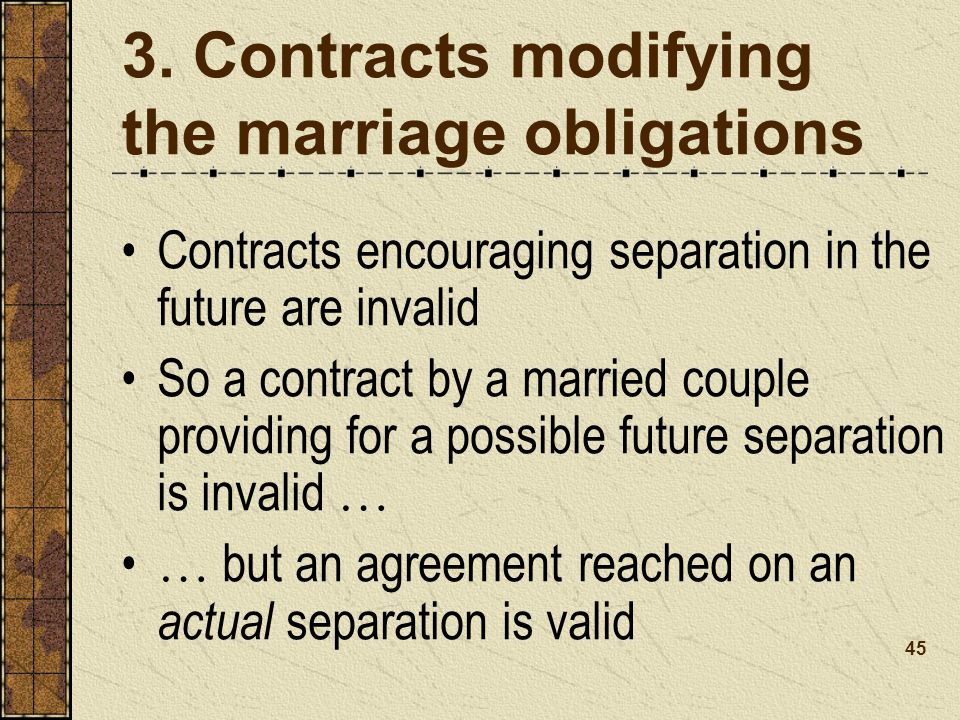3. Contracts modifying the marriage obligations