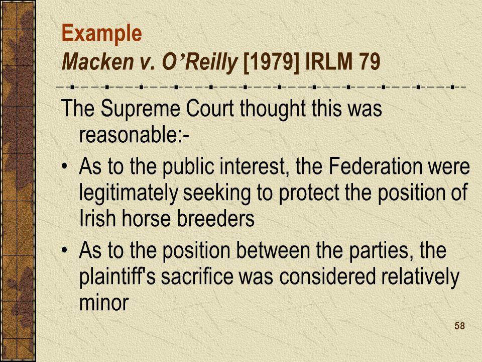 Example Macken v. O'Reilly [1979] IRLM 79