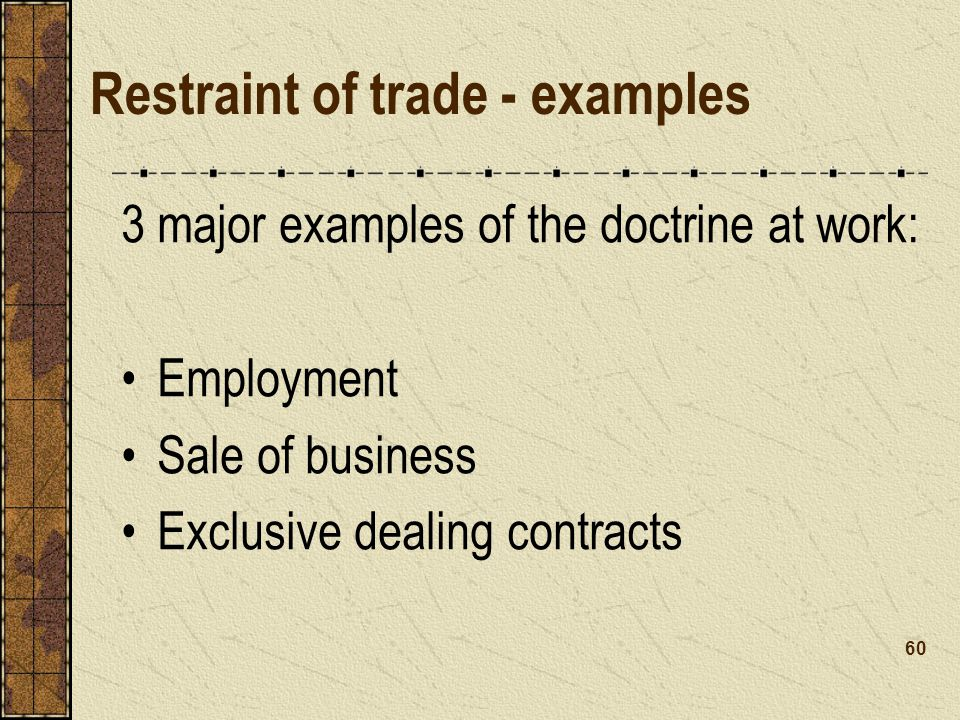 Restraint of trade - examples