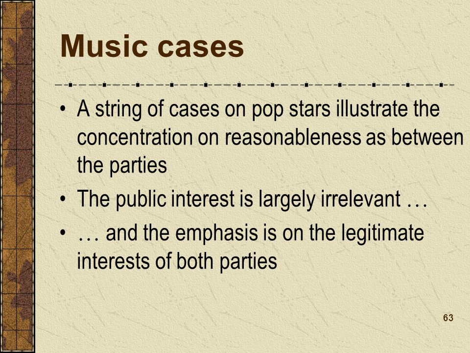 Music cases A string of cases on pop stars illustrate the concentration on reasonableness as between the parties.