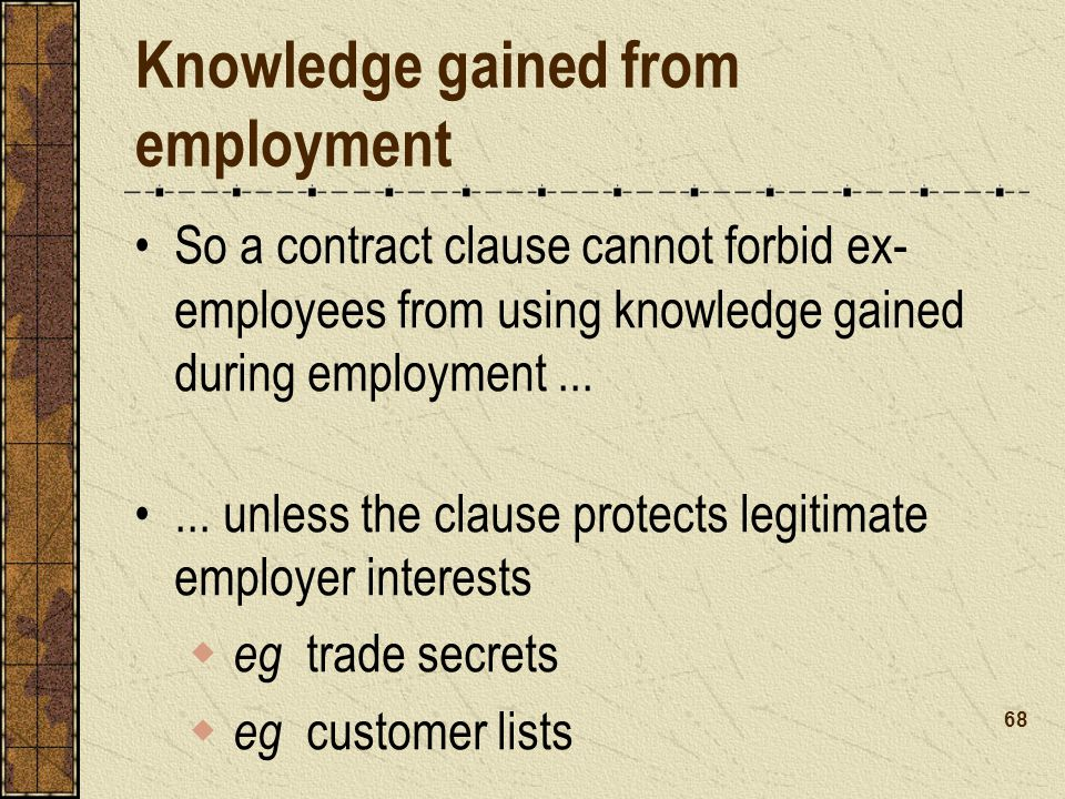 Knowledge gained from employment