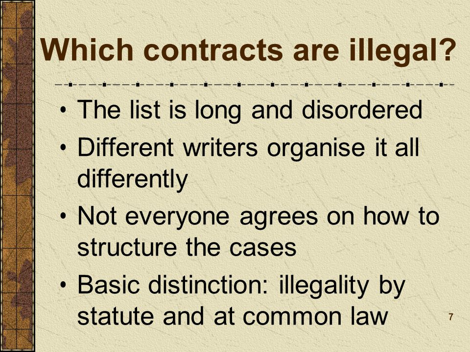 Which contracts are illegal