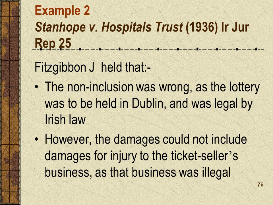 Example 2 Stanhope v. Hospitals Trust (1936) Ir Jur Rep 25