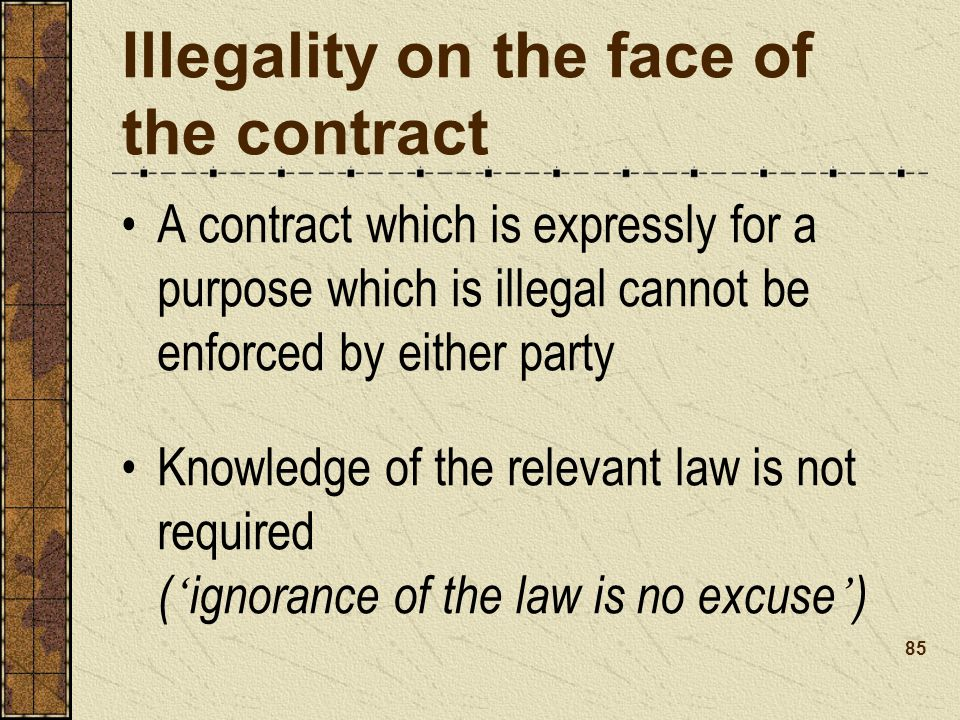Illegality on the face of the contract