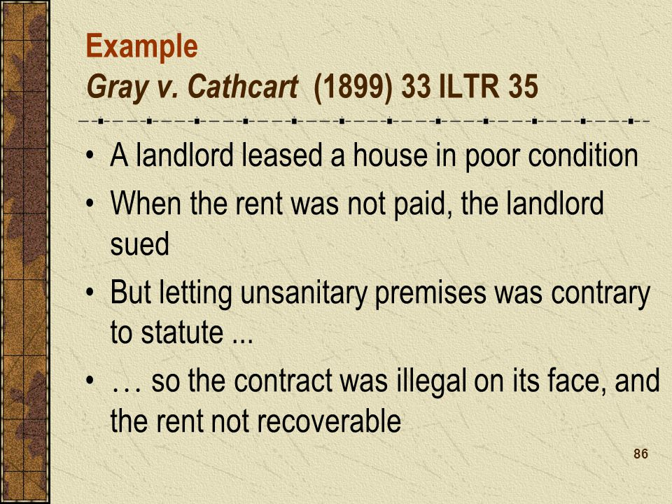 Example Gray v. Cathcart (1899) 33 ILTR 35