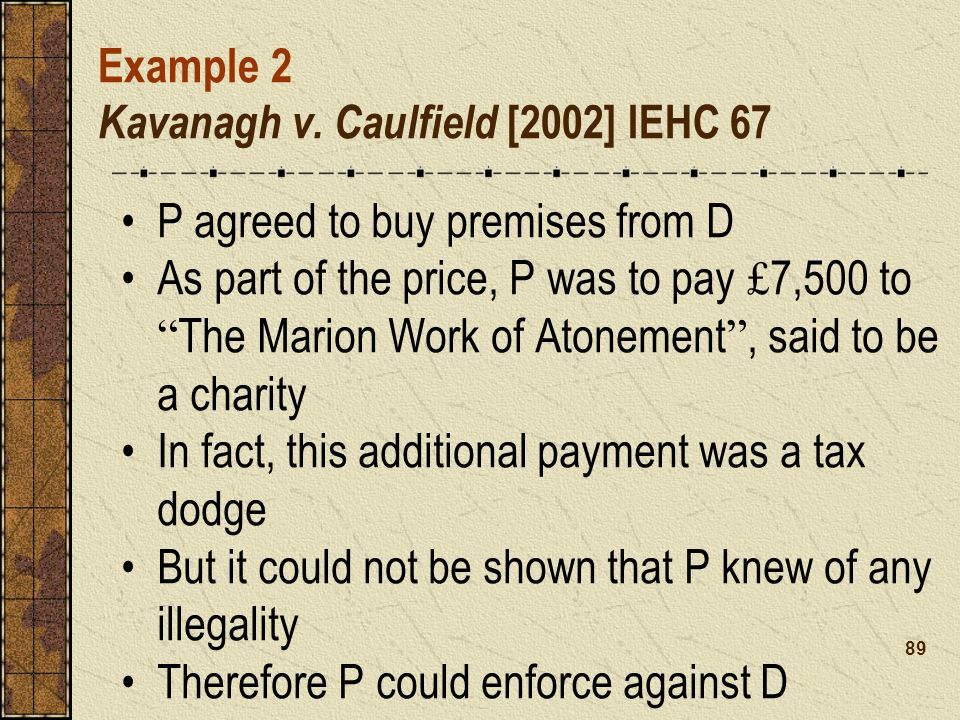 Example 2 Kavanagh v. Caulfield [2002] IEHC 67