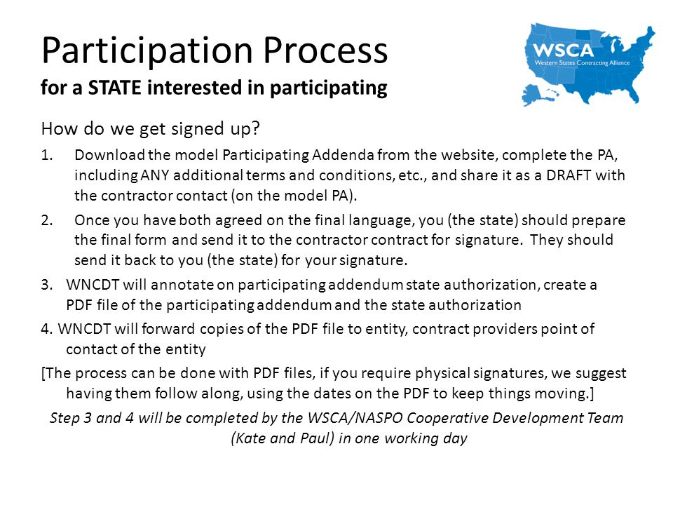 Participation Process for a STATE interested in participating