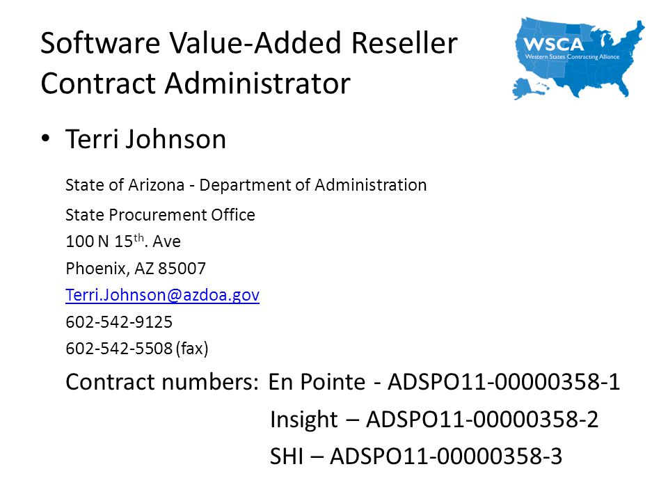 Software Value-Added Reseller Contract Administrator