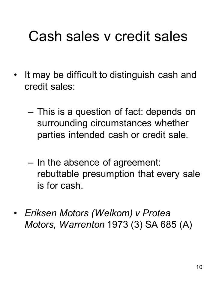 Cash sales v credit sales