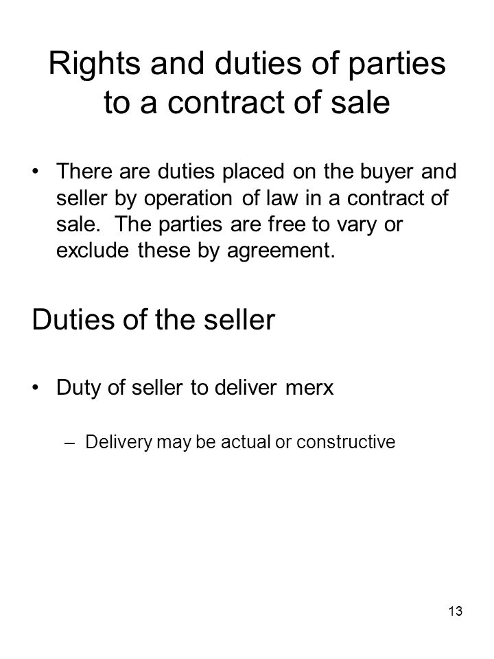 Rights and duties of parties to a contract of sale