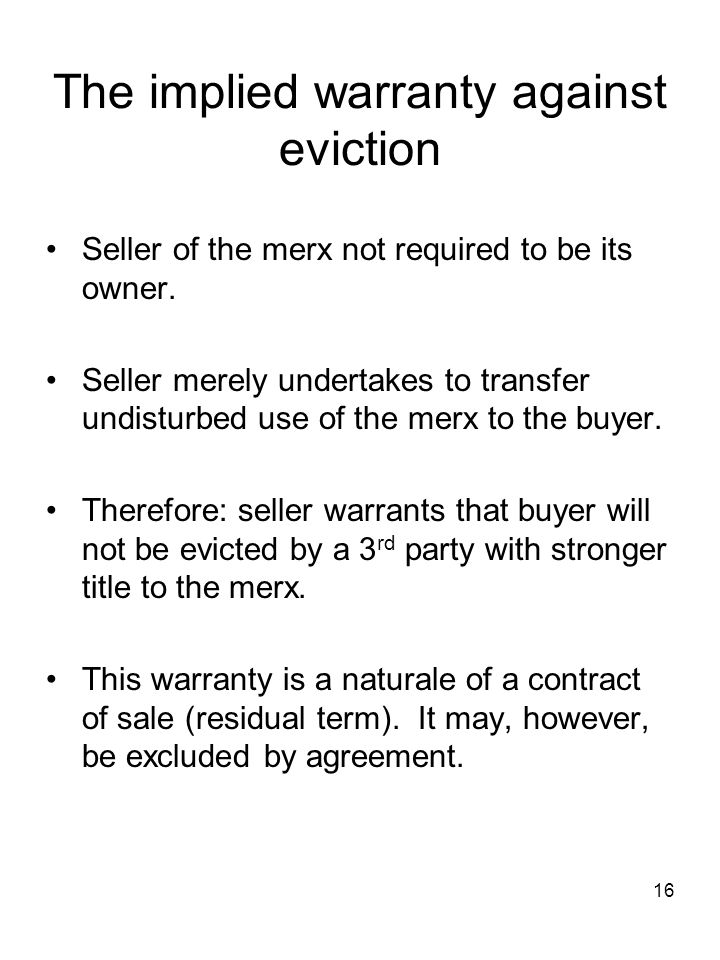 The implied warranty against eviction