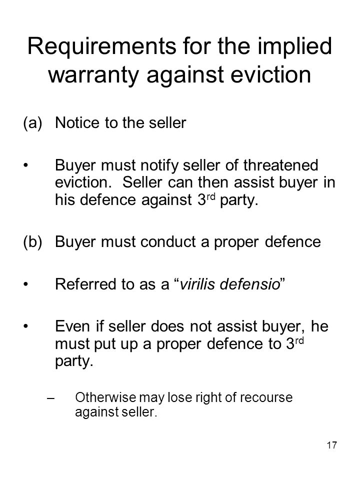 Requirements for the implied warranty against eviction