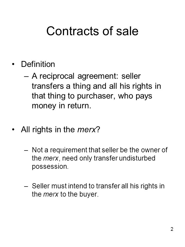 Contracts of sale Definition