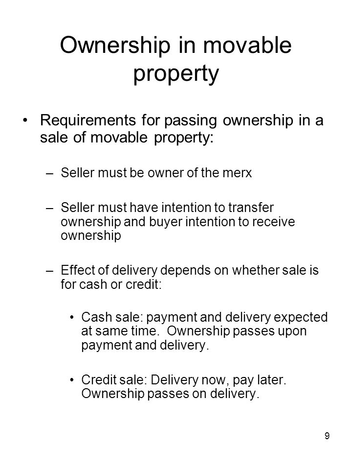 Ownership in movable property