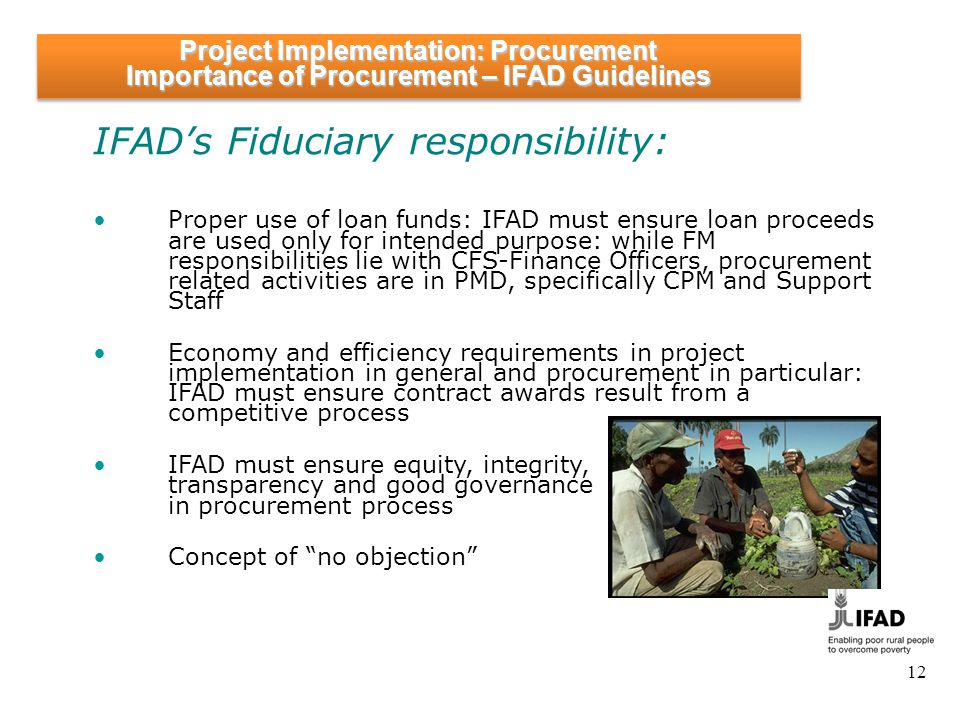 Project Implementation: Procurement Role of IFAD in Procurement