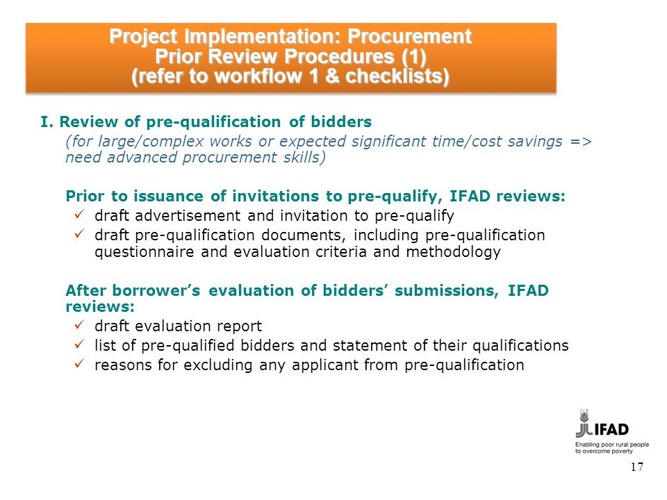 Project Implementation: Procurement Prior Review Procedures (2)