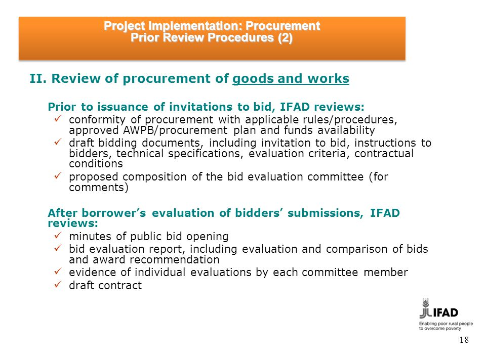 Project Implementation: Procurement Prior Review Procedures (3)