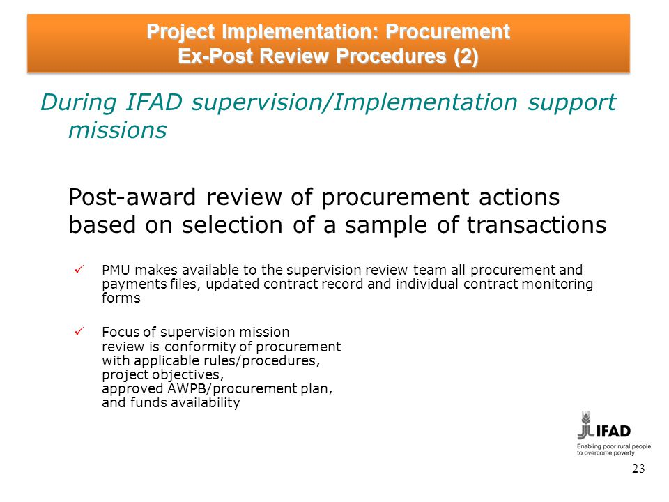 Project Implementation: Procurement Ex-Post Review Procedures (3)