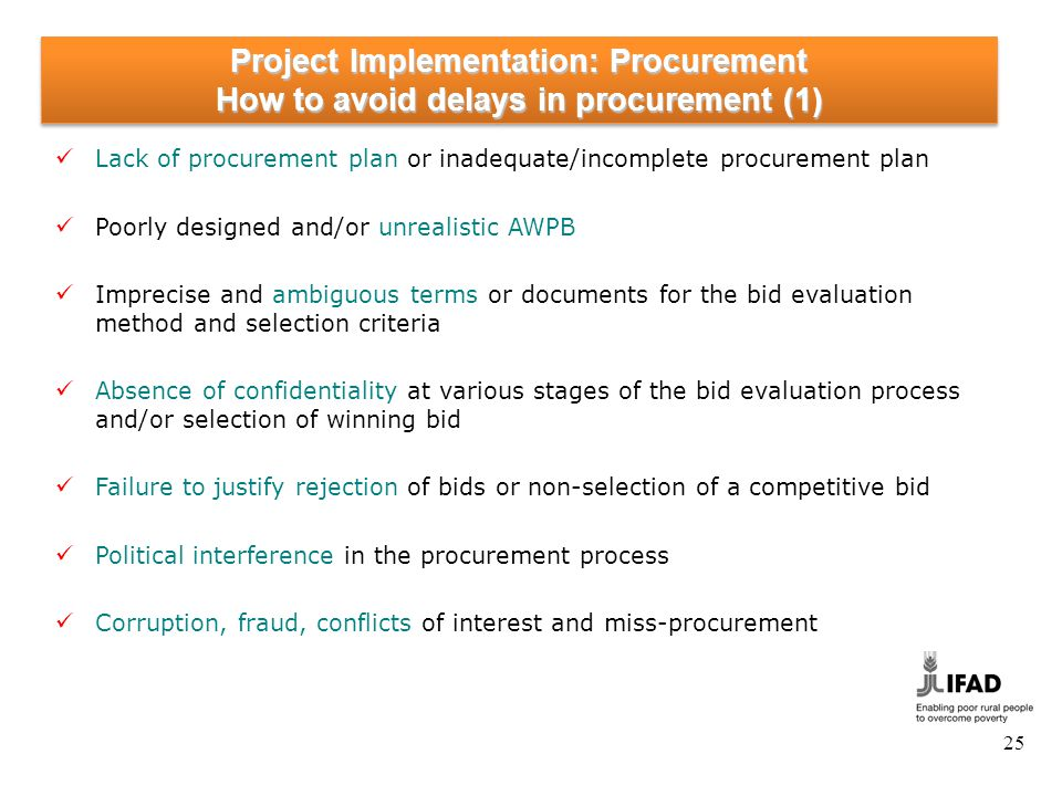 Project Implementation: Procurement How to avoid delays in procurement (2)
