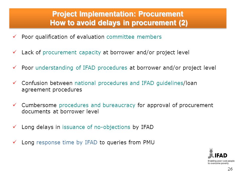 Project Implementation: Procurement Monitoring of Procurement at HQ