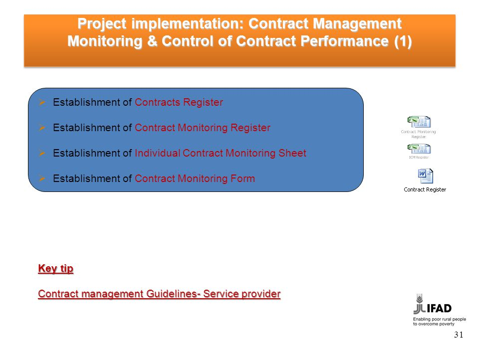 Project implementation: Contract Management Monitoring & Control of Contract Performance