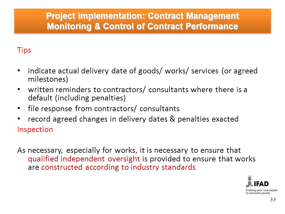 Project implementation: Contract Management Acceptance