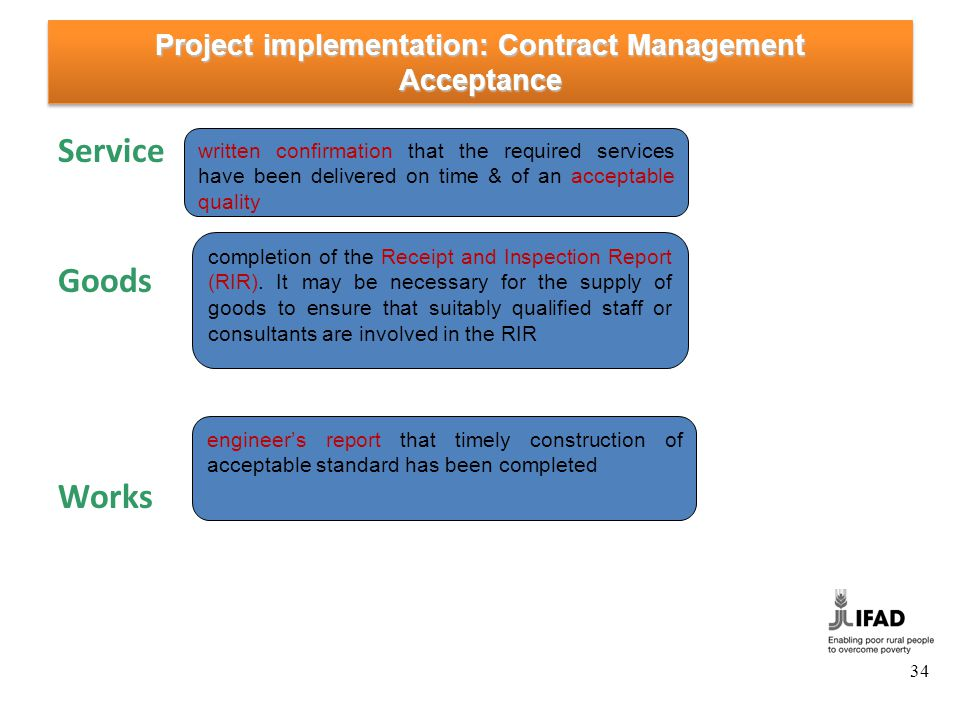 Project implementation: Contract Management Change Management