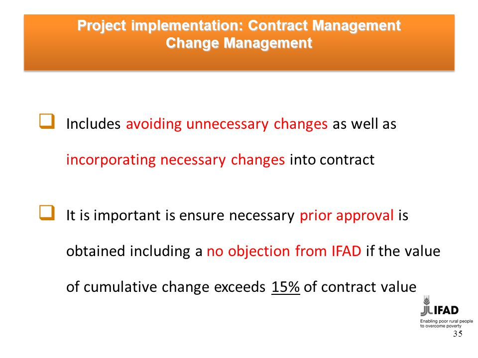 Project implementation: Contract Management Remedies