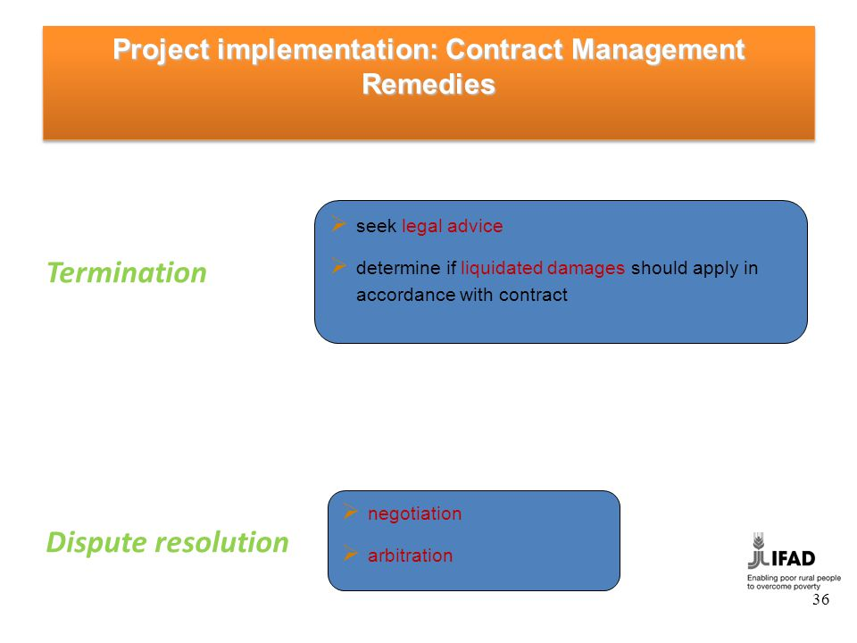 Project implementation: Contract Management Financial Management and Payments