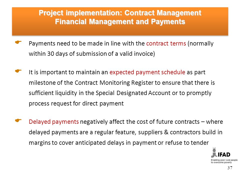 Project implementation: Contract Management Performance Securities