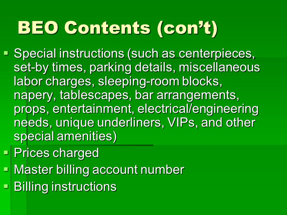 BEO Contents (con't)
