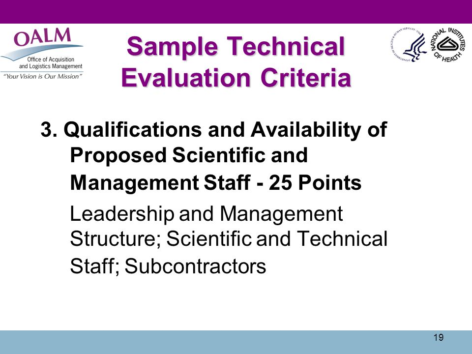 Sample Technical Evaluation Criteria