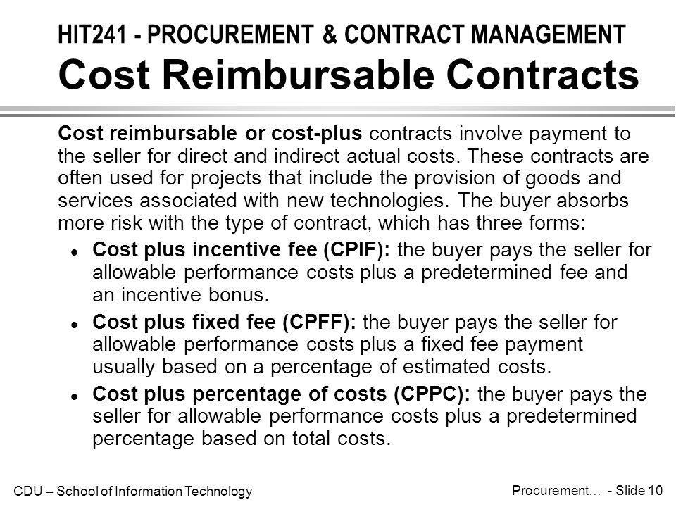 Hit241 procurement contract management introduction for Cost plus a fee contract form for homebuilding