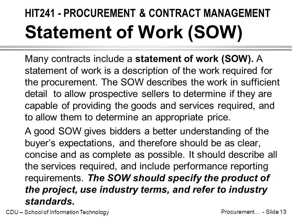 HIT241 - PROCUREMENT & CONTRACT MANAGEMENT Statement of Work (SOW)
