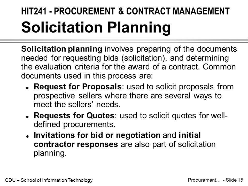 HIT241 - PROCUREMENT & CONTRACT MANAGEMENT Solicitation Planning