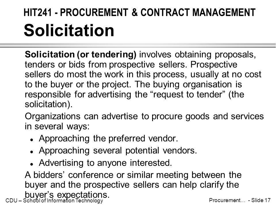 HIT241 - PROCUREMENT & CONTRACT MANAGEMENT Solicitation