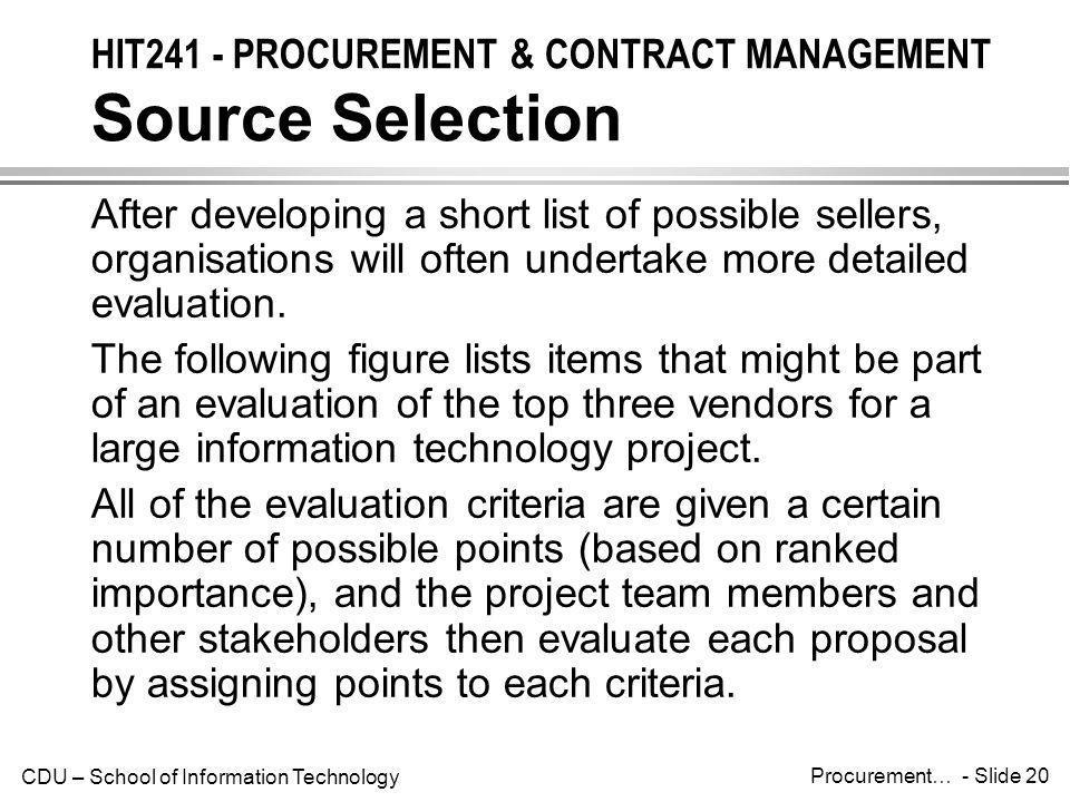 HIT241 - PROCUREMENT & CONTRACT MANAGEMENT Source Selection