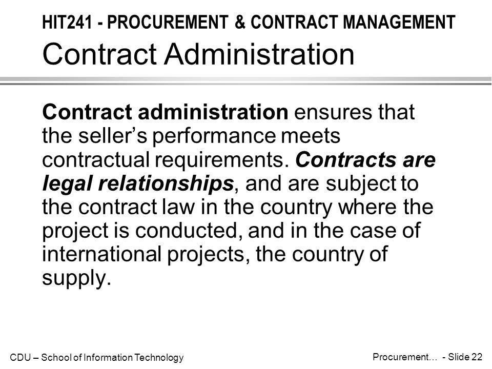 HIT241 - PROCUREMENT & CONTRACT MANAGEMENT Contract Administration