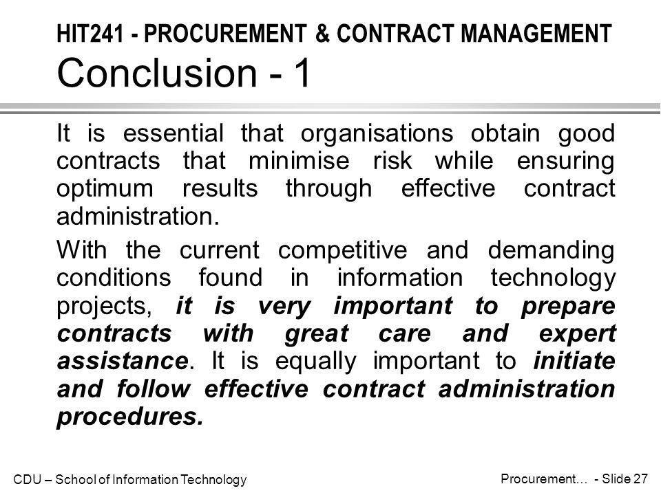 HIT241 - PROCUREMENT & CONTRACT MANAGEMENT Conclusion - 1