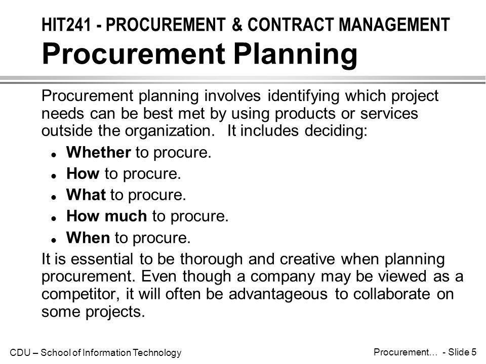 HIT241 - PROCUREMENT & CONTRACT MANAGEMENT Procurement Planning
