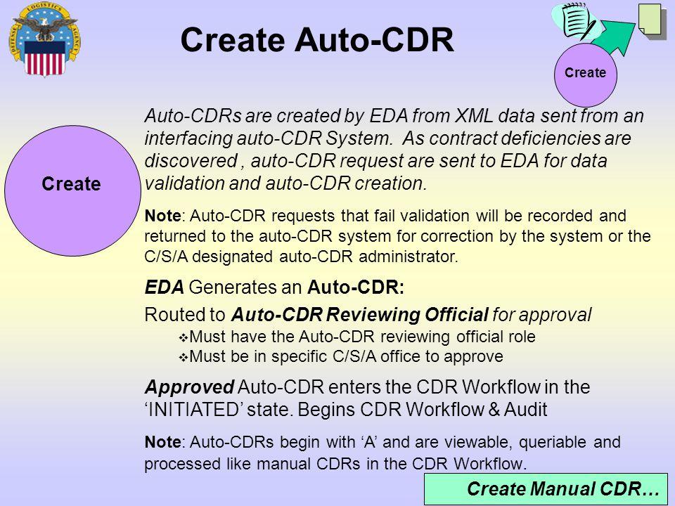 Create Auto-CDR Create.