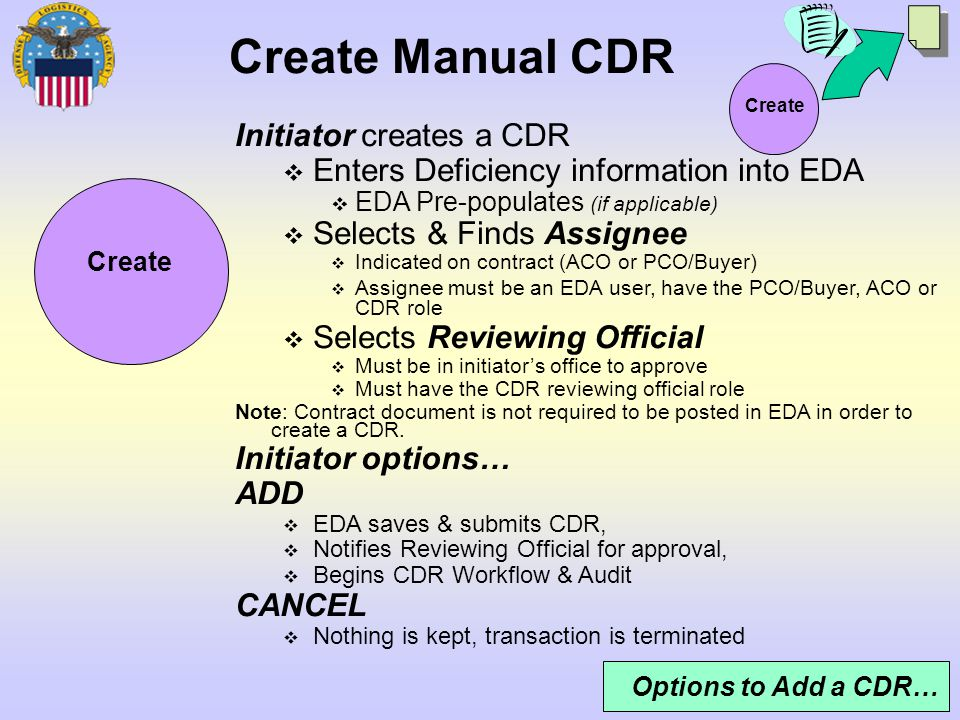 Create Manual CDR Initiator creates a CDR