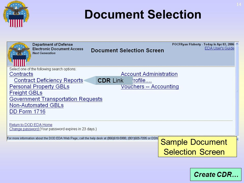 Document Selection Sample Document Selection Screen Create CDR…