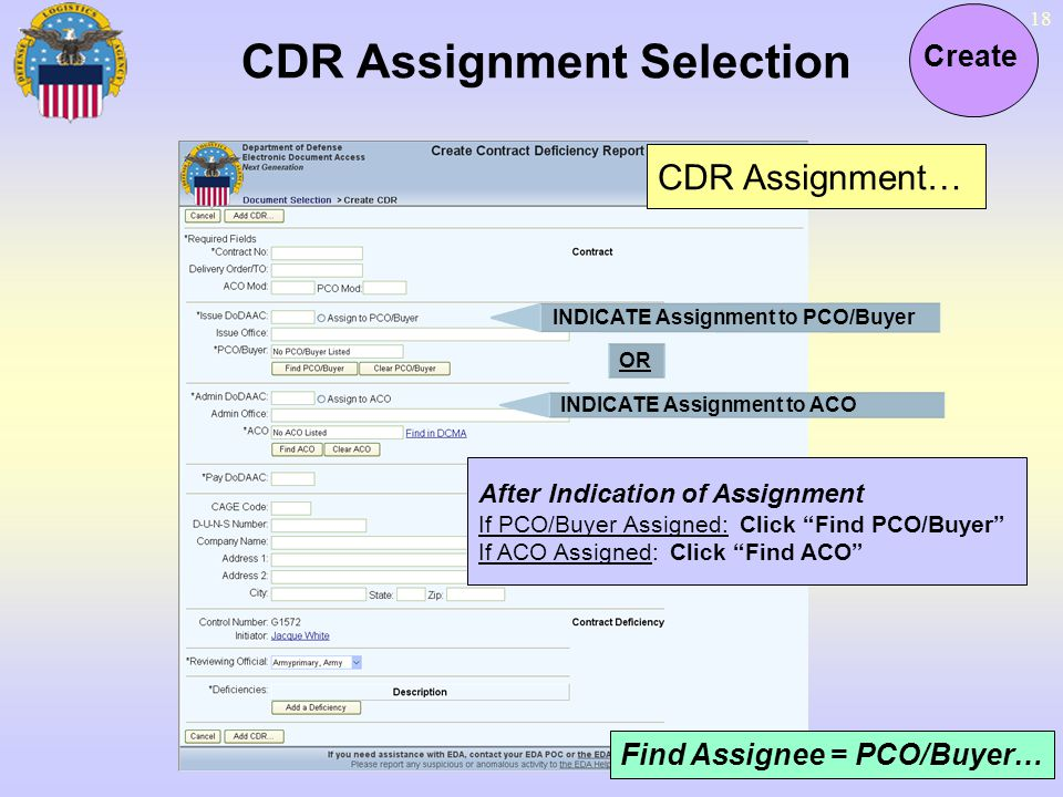CDR Assignment Selection