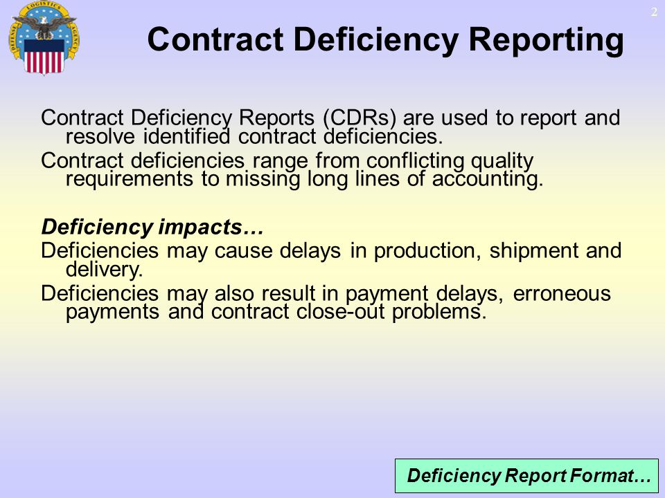 Contract Deficiency Reporting